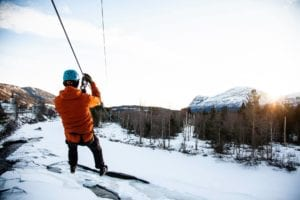 Zipline over frozen waters